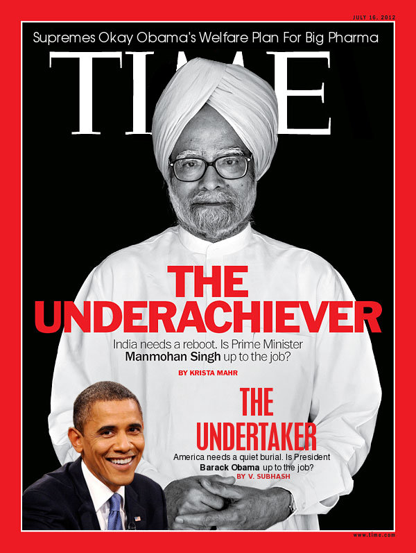 Barack Obuma joins Manmole Singh on Time magazine cover as another underachiever