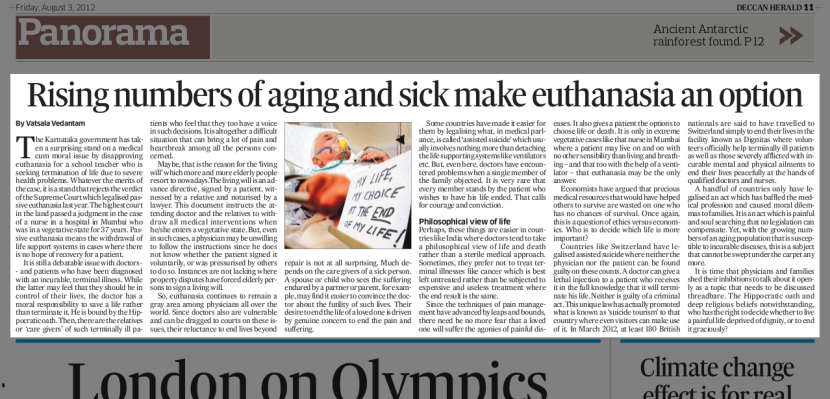 Deccan Herald article on euthansia as an option for rising numbers of aged and sick