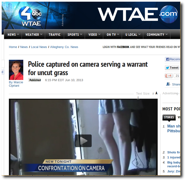 WEBPAGE - American Cops Barge Into House To Serve Warrants For Uncut Grass