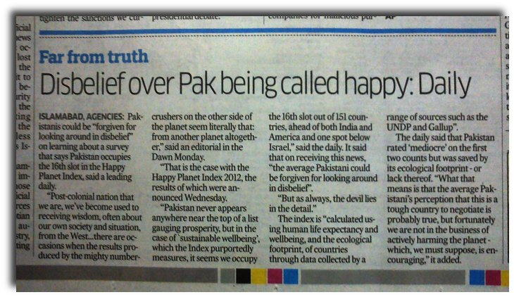 "Deccan Herald: Pakistanis express surprise over a survey that claimed that they were the ""happiest"" people in the world."