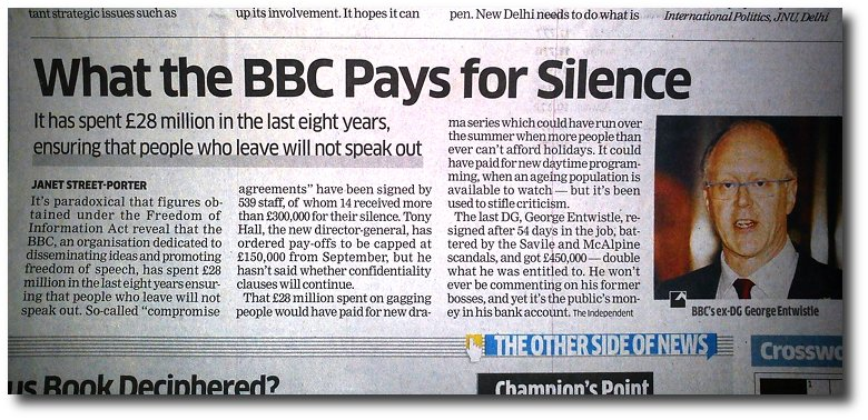 Even a public utility like the BBC pays big money to silence potential whistleblowers.