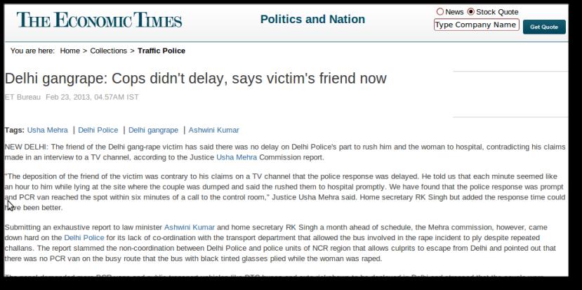 WEBPAGE - ET - Male Friend of Delhi Gangrape Victim Retracts On Delhi Police Delay