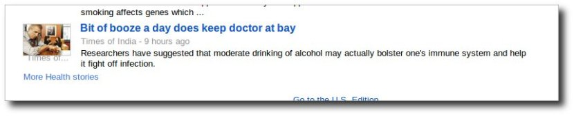 This health news says alcohol is good for health.