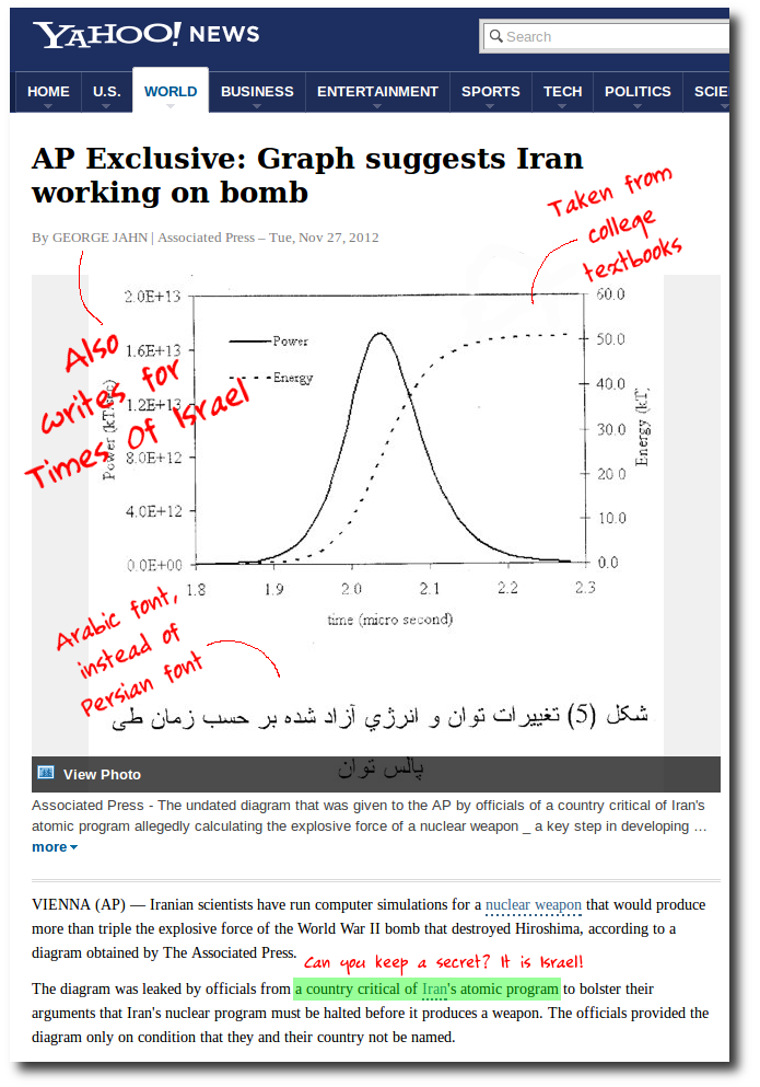 """In November last year, AP reporter George Jahn, who also writes for Times of Israel, produced this diagram as having been leaked by """"a country critical"""" of Israel"""" as the proof of Iran's alleged nuclear program."""