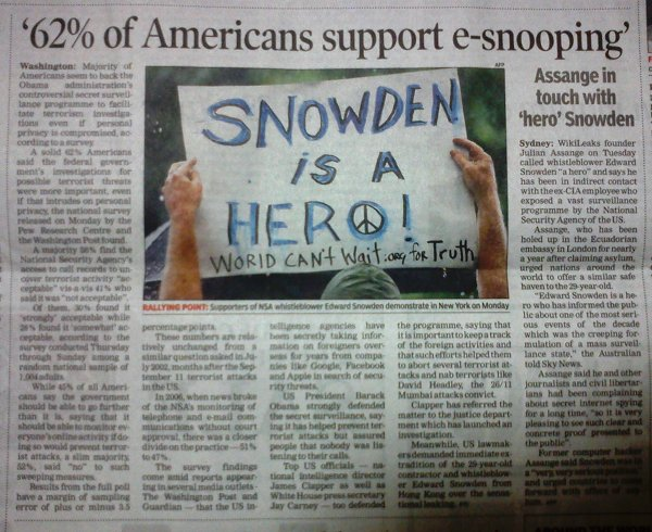 TOI news report on American sheeple who support snooping