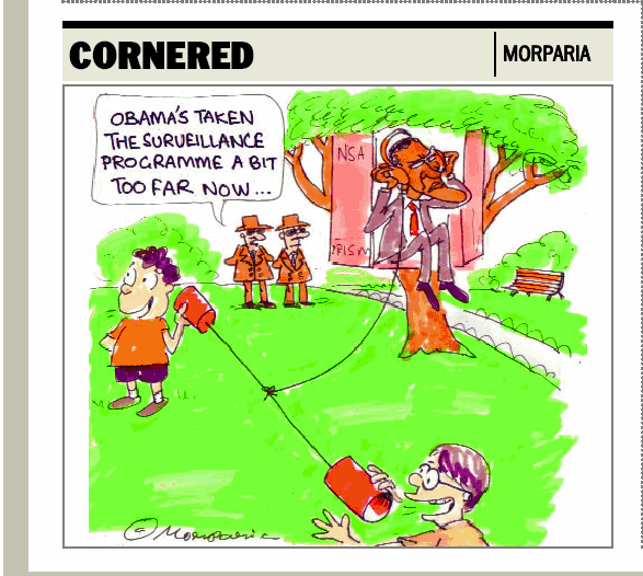 NEWSCLIP - CARTOON - Bangalore Mirror - Morparia - Obama NSA Surveillance State