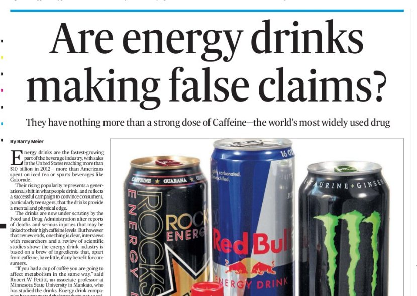 NEWSCLIP - Deccan Herald - NYT discovers energy drinks nothing more than caffeine and sugar water