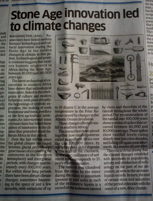 NEWSCLIP - DH - NYT - Stone Age Innovations Drove Climate Change