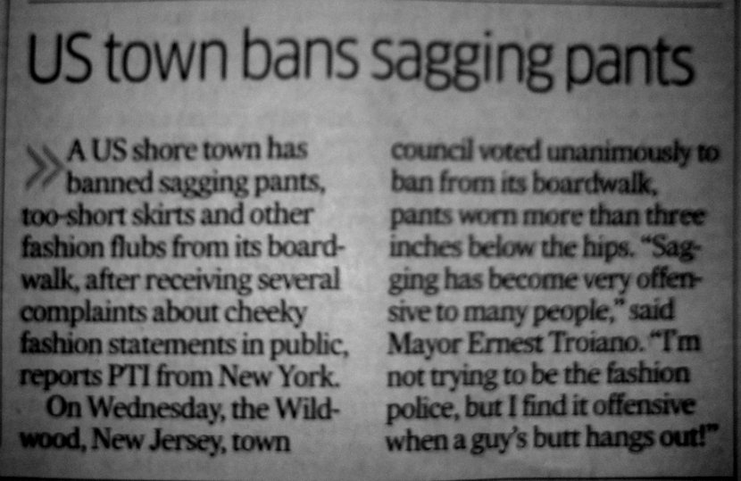 DH report on US town banning sagging pants