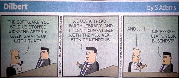 Dilbert cartoon on incompatible 3rd-party component incompatible with Windows