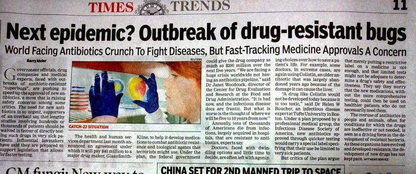 News clip from the Times of India about antibiotics crunch