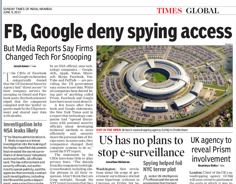 TOI news report on GHCQ and NSA spying
