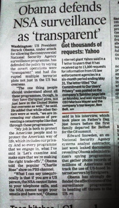 NEWSCLIP - TOI - NSA Surveillane Transparent Obama Says