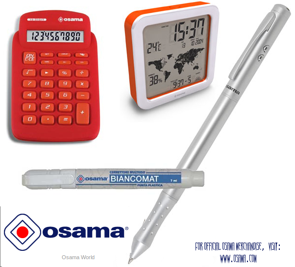 Official Osama merchandize - Osama calculator, Osama wall clock, Osama pens, Osama stationery