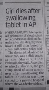 NEWSCLIP - DH - Girl dies after swallowing iron tablet