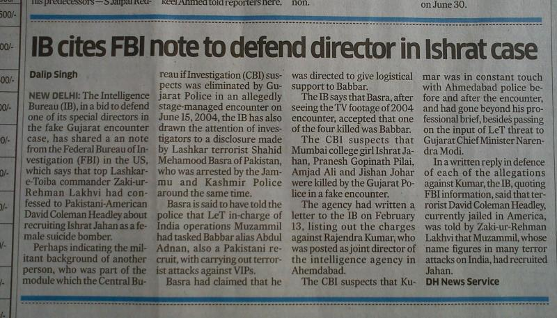NEWSCLIP - DH - IB cites FBI note to defend Ishrat fake encounter