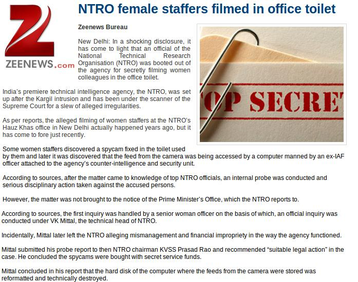 NEWSCLIP - DH - NTRO Put Cameras In Toilets
