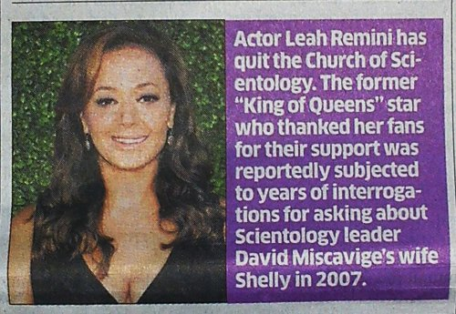 NEWSCLIP - DH - Scientology escapee Leah Remini