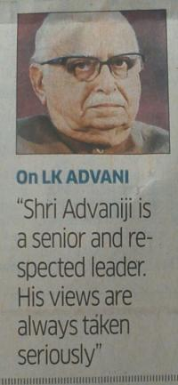 NEWSCLIP - TOI - Advani Somewhat Seriously