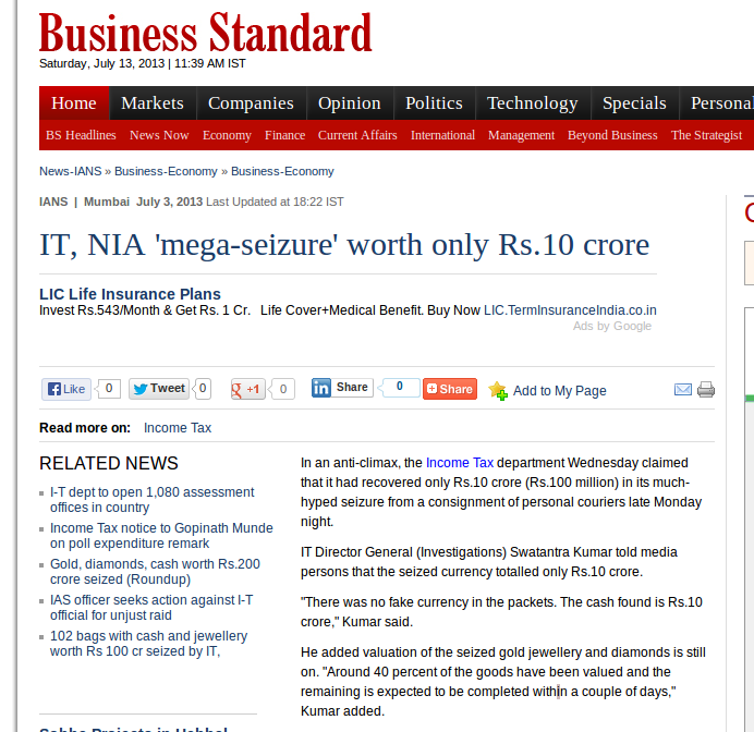Screenshot-IT, NIA 'mega-seizure' worth only Rs.10 crore | Business Standard