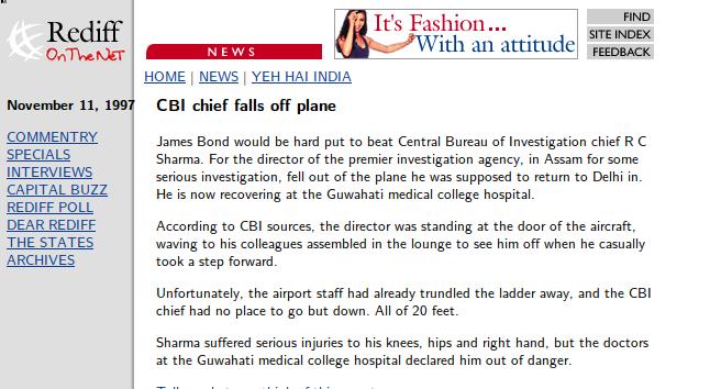 WEBPAGE - CBI Director RC Sharma Falls Of Plane
