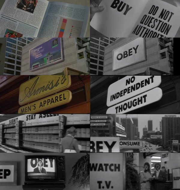Propaganda and subliminal messaging in the movie They Live