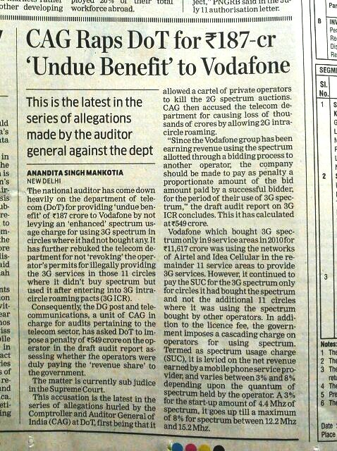 NEWSCLIP - BM - Kapil Sibal largesse for Vodafone