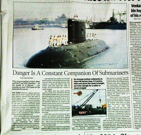 An Indian submarine at the Bombay dockyard