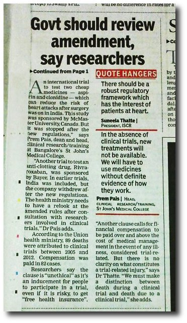 NEWSCLIP - TOI - Ungrateful bastards criticising clinical trial amendment