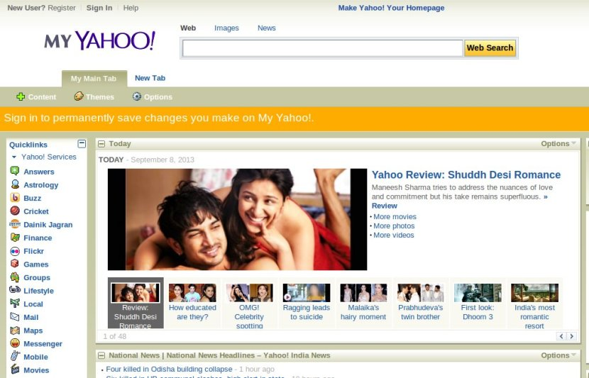 Photo of Shudh Desi Romance graces front page of My Yahoo!