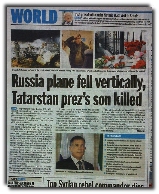 Boeing plane that crashed in Tartarstan went down nose down vertically.