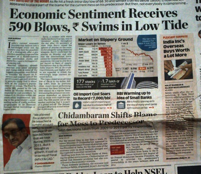 ET blames Chidambarm when market falls.