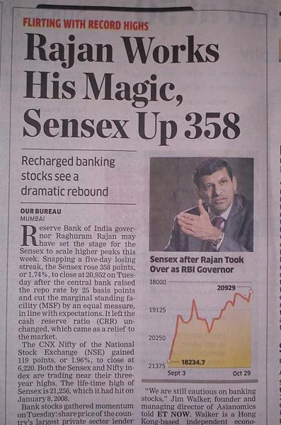 ET credits RBI governor when market goes up.