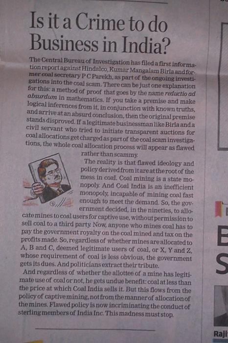 ET defends Birla in coal scam.