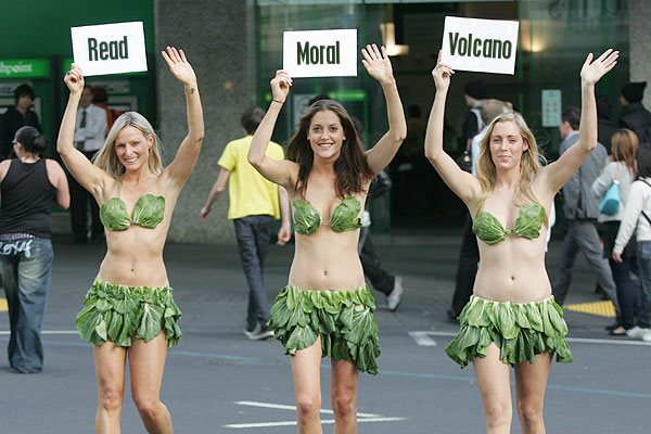 The PETA lettuce ladies promote the Moral Volcano.