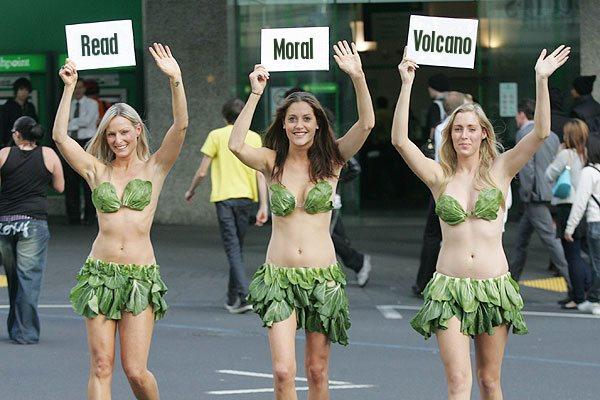 The PETA lettuce ladies promote the Moral Volcano.
