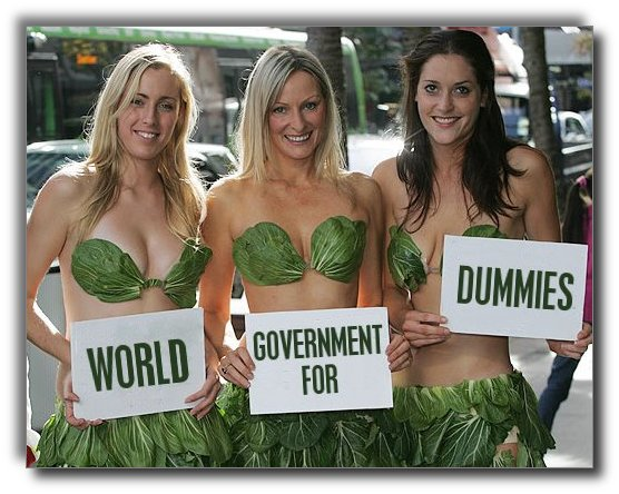PETA lettuce ladies promote The World Government Slave Handbook.
