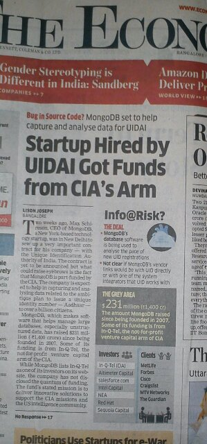 Economic Times story on CIA outfit getting UIDAI contract