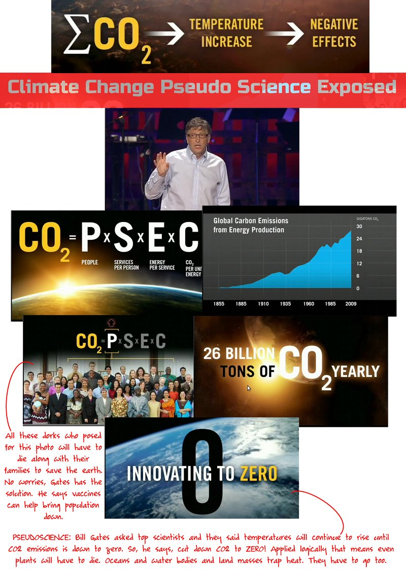 At a Ted Talk conference, Bill Gates revealed that vacines can help reduce world population. He also says that top scientists of the world told him that CO2 emissions will have to go to zero to prevent global temperatures from rising. And, that all CO2 emissions are directly linked to humans. Idiotically, he went on to claim that has to be our goal! Zero CO2 emissions means no plants, animals, oceans or land masses.