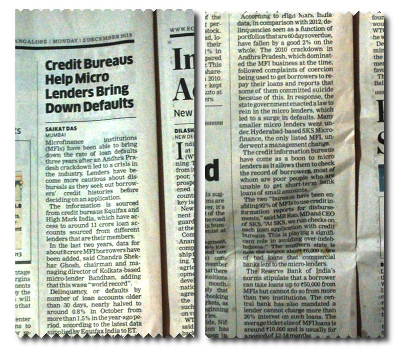 Hiding in this ET news item is the information that poor villagers are being charged usurious interest rates of at least 26%.
