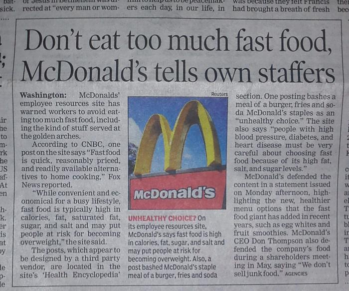 NEWSCLIP-McDonalds-Junk-Food-bad-for-its-own-employees