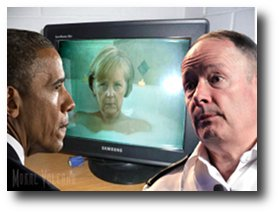 US president Barack Obama watches German chancellor Angela Merkel as NSA chief Keith Alexander looks on