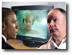 US president Barack Obama watches German chancellor Angela Merkel as NSA chief Keith Alexander looks on