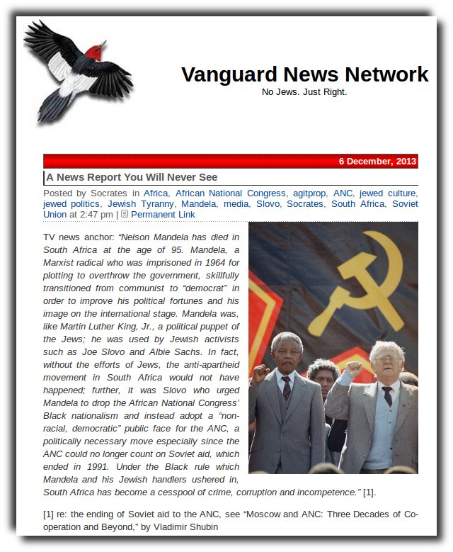 VNN quotes from a Soviet publication on Mandela and ANC cooperation with the Soviets.