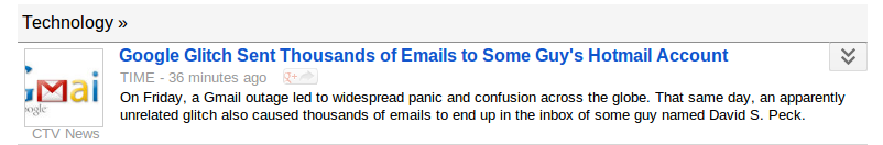 News report of Gmail misdirecting e-mail messages.