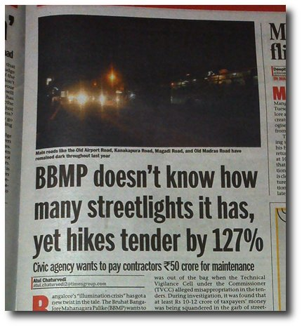 Bangalore City increases pay for private firms maintaining streetlights even though it has no figures to warrant the increase.