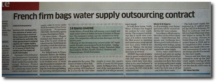 Rothschild front Veolia gets water supply contract in Bangalore.