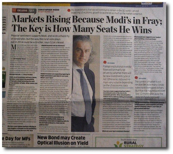 CLSA analyst attributes Sensex rise to Modi candidature