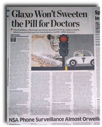 Glaxo offers to end bribes to doctors.
