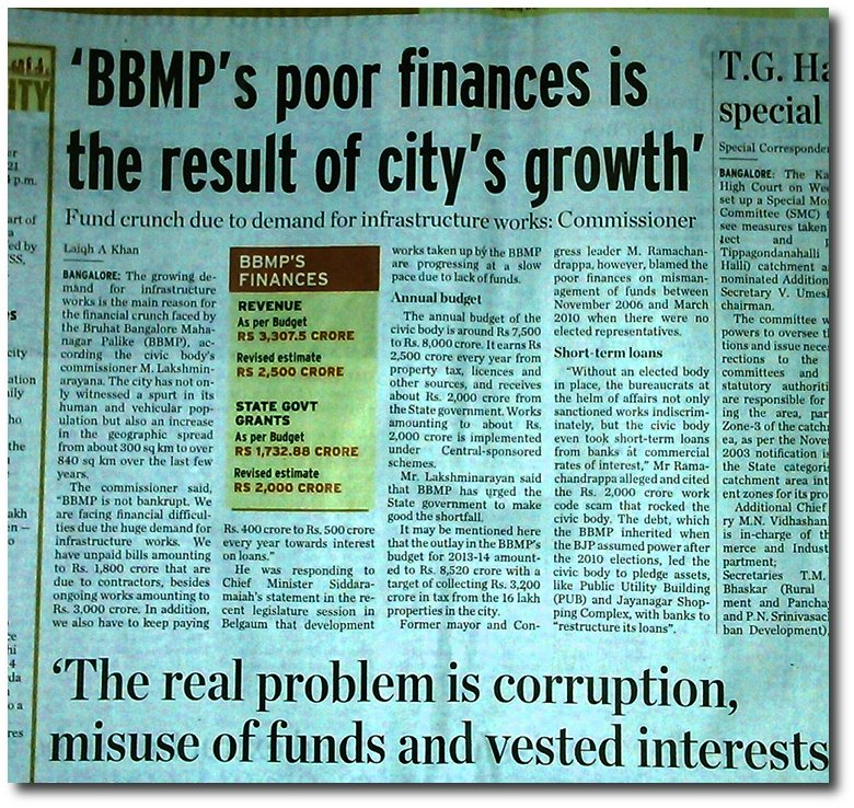 Bangalore City council BBMP is starved of funds because revenue and state government funds are diverted to infrastructure products.